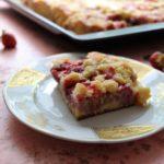 Erdbeer-Rhabarber-Kuchen mit Butterstreuseln | Blechkuchen